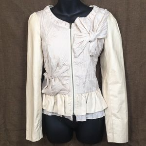 Ryu: cream peplum jacket w/crinkled  bows, size S